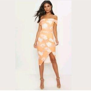 Pretty Little Thing NWT S Tangerine Midi Dress
